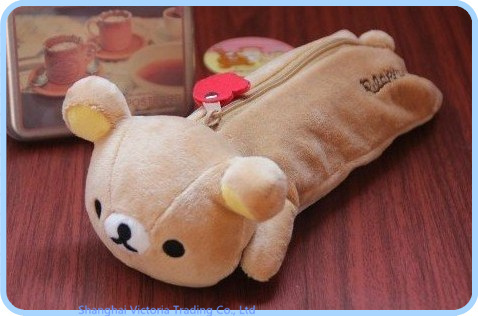 Student Kawaii SAN-X Sentimental Rilakkuma Bear Stationery Plush 24*9CM Pen Pencil BAG Coin Cash Purse & Wallet Pouch BAG Case(China (Mainland))