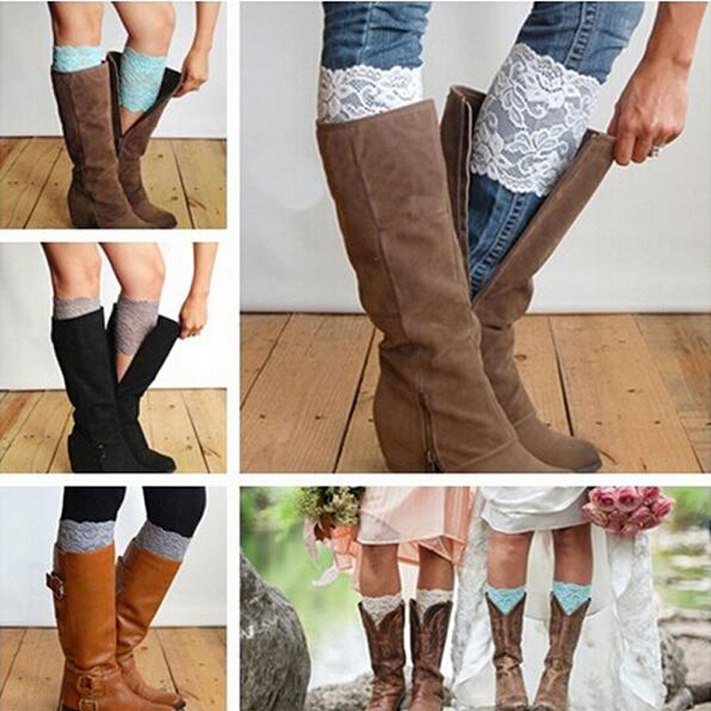 Free Shipping Stretch Lace Boot Cuffs Women GIRLS LEG WARMERS Trim Flower Design Boot Socks Knee 8pcs/lot