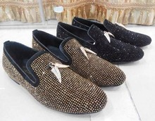 new fashion men gold Pendants bling bling rhinestones loafers shoes real photos large size 46(China (Mainland))
