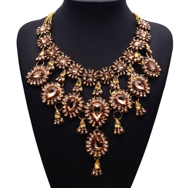 New Fashion Luxury Statement za Luxury Gold Colorful Necklace Clain New Design Gem Pendants Hotsale Clain Jewelry 9895(China (Mainland))