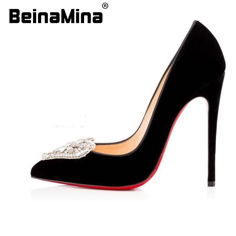 women pointed toe real genuine leather red bottom high heel shoes brand sexy heels fashion pumps heeled shoes size 33-40 R08557<br><br>Aliexpress