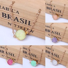 New Fashion 2015 Natural Stone Round Colorful Bracelet For Women Gold Plated Chain Bracelets Bangle High Quality(China (Mainland))