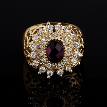 Mixed Order Free shipping 18K Gold Filled Rhinestone Luxury Crystal Flower shape fashion woman Ring Jewelry