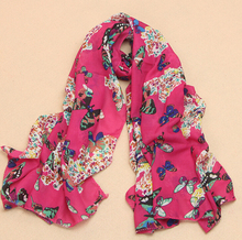 Wholesale Scarf female velvet chiffon silk scarf long design cape butterfly BEACH SCARF(China (Mainland))