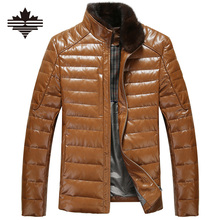 Men's Leather Down Jacket Winter Fur Collar Detachable PU Leather Jackets For Mens Warm Overcoat Casual Coats Leather Jackets(China (Mainland))
