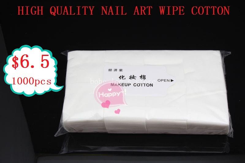 Frete grátis 1000 limpe Wipes algodão para maquiagem Nail Art polonês acrílico Gel dicas Remover 100% de alta qualidade