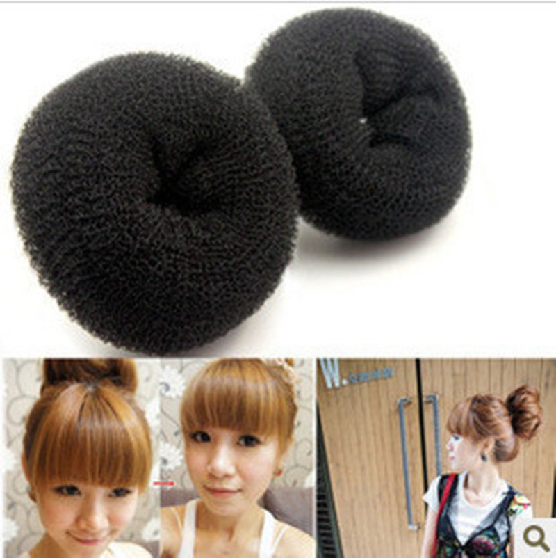 Hot Sale black coffee cream-coloured 3 sizes(6CM,8CM,10CM) Hair Styling Donut Magic Sponge Bun Ring Maker Former Hair Disk F050(China (Mainland))