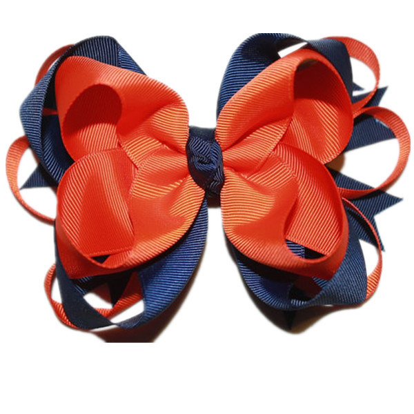 Big Stacked Boutique Bows With 4.5cm Clip, Navy and Orange Hair Bows,Grosgrain Ribbon Bows,Good Quality Hair Accessories(China (Mainland))