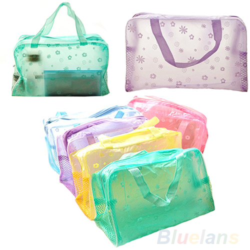 Hot Floral Print Transparent Waterproof Makeup Make up Cosmetic Bag Toiletry Bathing Pouch 1HET(China (Mainland))
