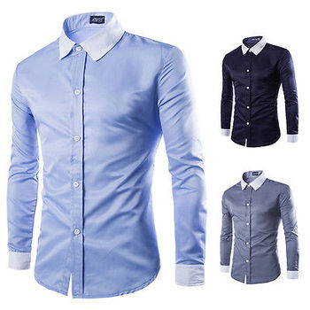 Fashion Mens Luxury Stylish Casual Slim Fit Shirts Casual Long Sleeve Shirts Solid Men Shirt