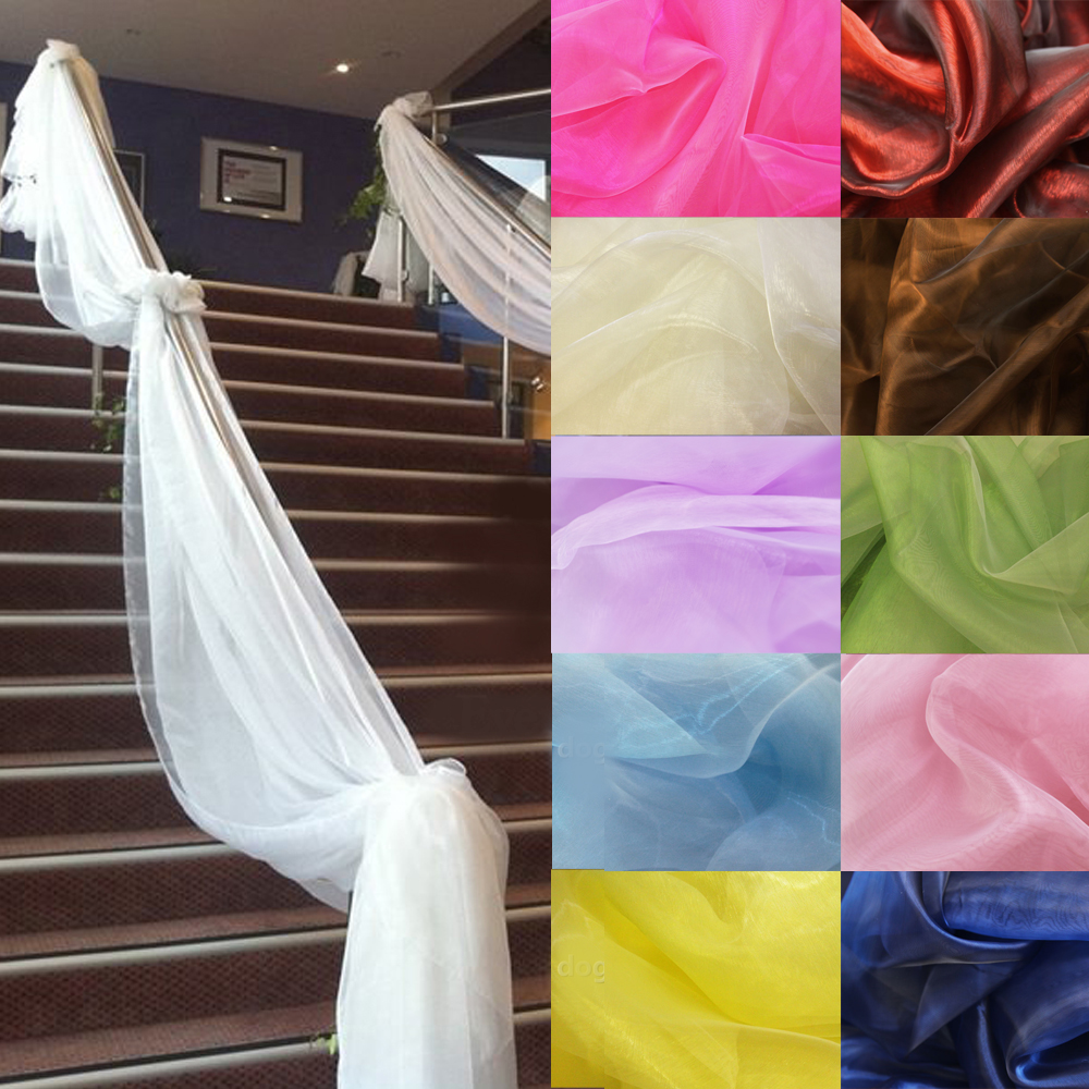 500CM*135CM Sheer Organza Multi Use Wedding Chair Sash Bow Table Runner Swag Decorations(China (Mainland))