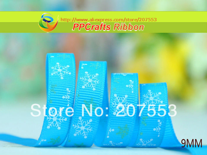 """New Arrival Christmas season Ribbons 3/8""""(9mm) Blue color Printed Snow Grosgrain Ribbon For Christmas decorations Free Shipping(China (Mainland))"""