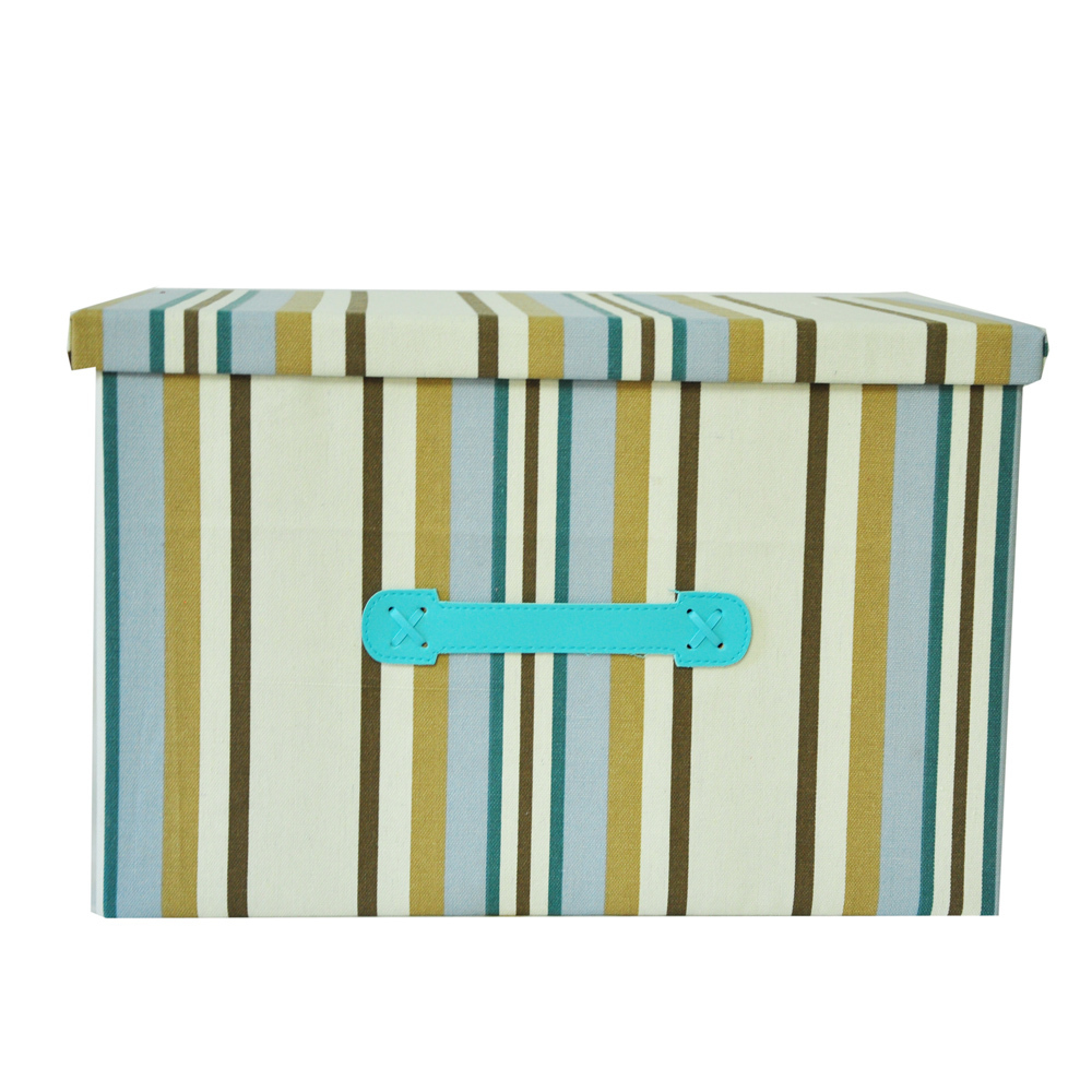 Free shipping big size Clothing and toy makeup organizer basket Blue stripe canvas painting folding storage box container(China (Mainland))