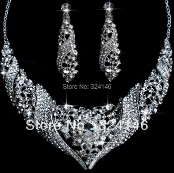 2014 Romantic wedding Crystal bridal jewelry sets fashion shiny crystal set wedding jewelry sets accessories