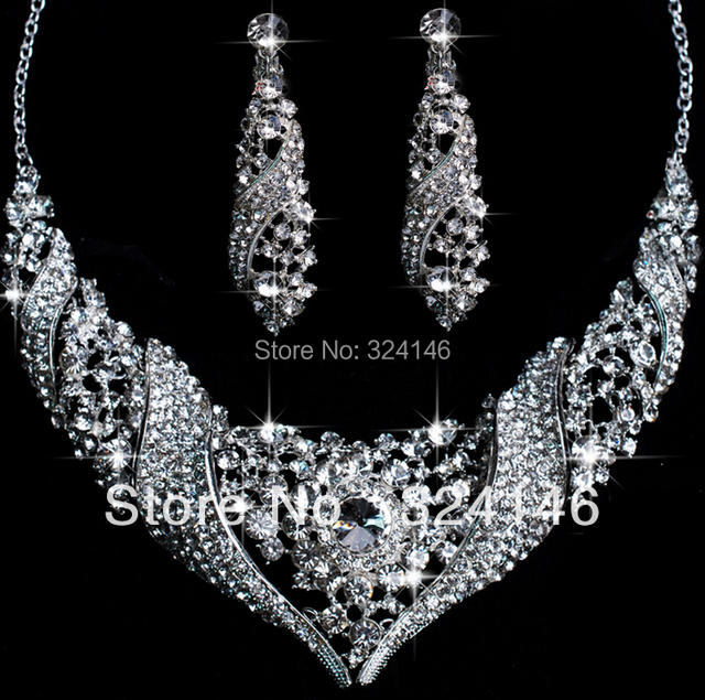 2016 Hot sale Luxuious Crystal Wedding bridal jewelry sets fashion Top quality wedding jewelry sets for women accessories