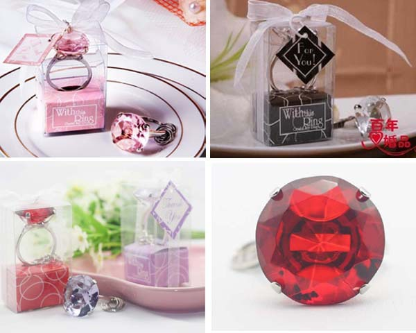 DHL 100pcs Free Shipping With this Ring Diamond Keychain White Key Chain Wedding Favors and gifts