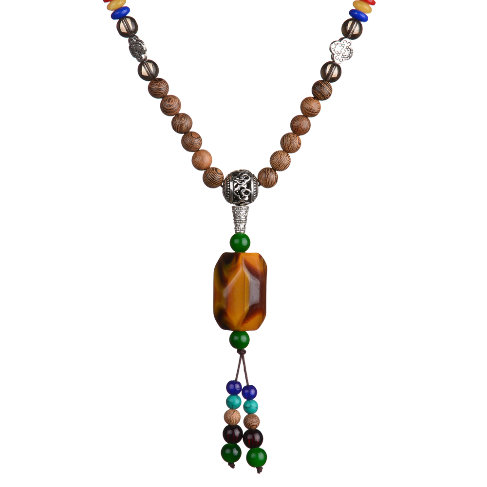Fashion Necklace For Women 2016 Bohemian Jewelry Colorful Wood Beads Long Necklace With Faux Stone Charms Collares Mujer JN16041(China (Mainland))