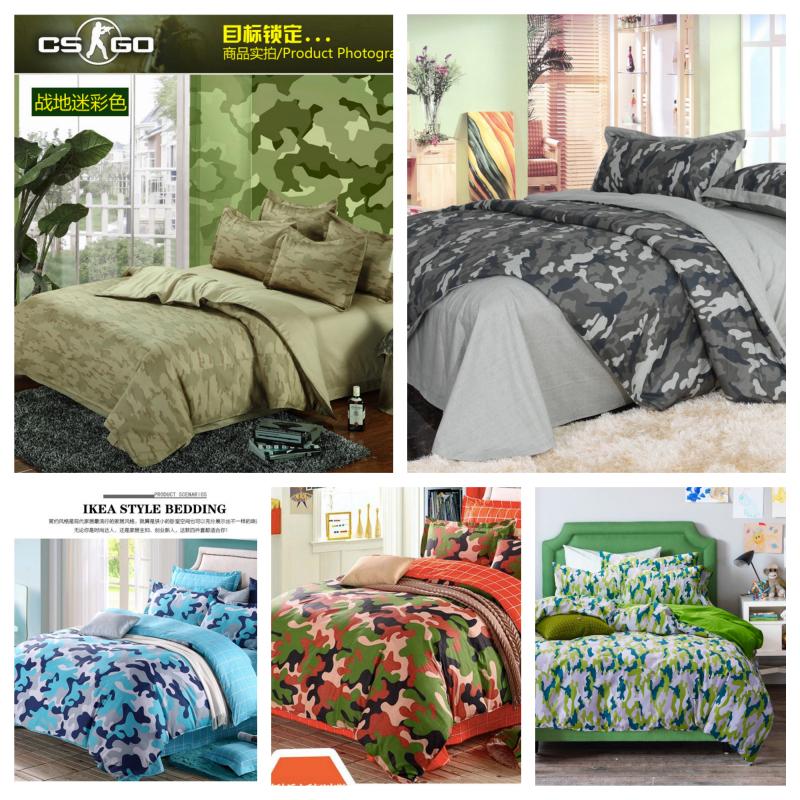 4 pc 100 coton troupes lit camouflage ensemble populaire de lit en coton feuilles camouflage