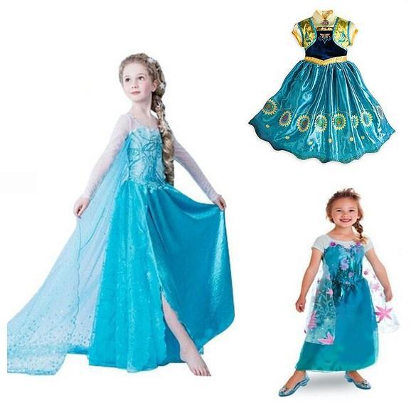 New 2015 Summer Style Baby Girls Dresses Princess Fever anna elsa dress Cosplay costume Kids cartoon girl dresses for children(China (Mainland))