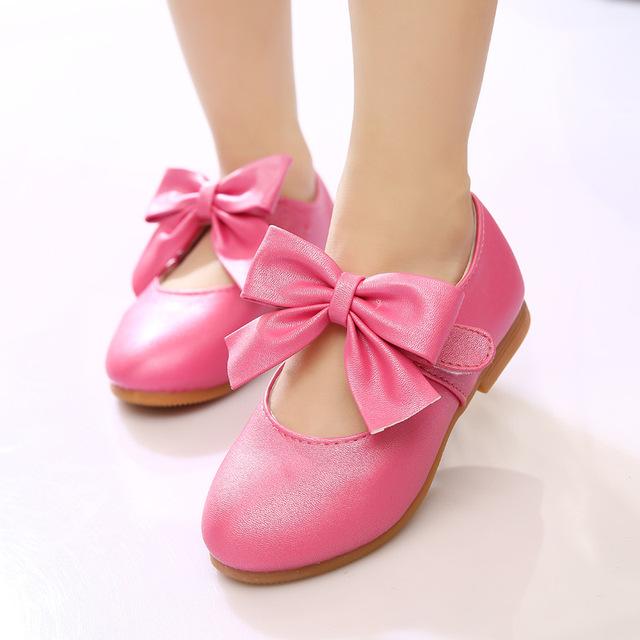 2016 девушки кожаные ботинки дети свободного покроя одной обуви детей плоские твердого большой с бантом - узел обувь девушки принцесса золотые туфли 21 - 35