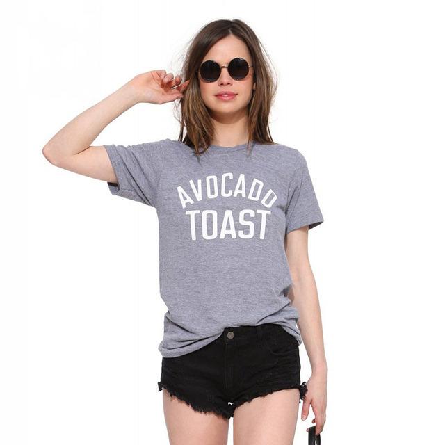 Горячий новый свободного покроя широкий футболки женщины Magliette 2016 женщин футболки авокадо тост печатных женщины с коротким рукавом женщины большой износ