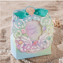 50pcs Wedding Party Favor Gift Boxes, Paper Candy Bag Sweet chocolate Pack with ribbon