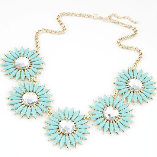2014 New Design Fashion Sunflower Statement Necklaces Pendants Maxi Imitated Gemstone Jewelry Choker Necklace for Women(China (Mainland))