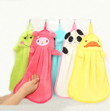 Super Cute Cartoon Kitchen Hand Towel Soft Coral Fleece Elephant Rabbit Panda Napery Kitchen Accessories Cleaning Cloths CF001