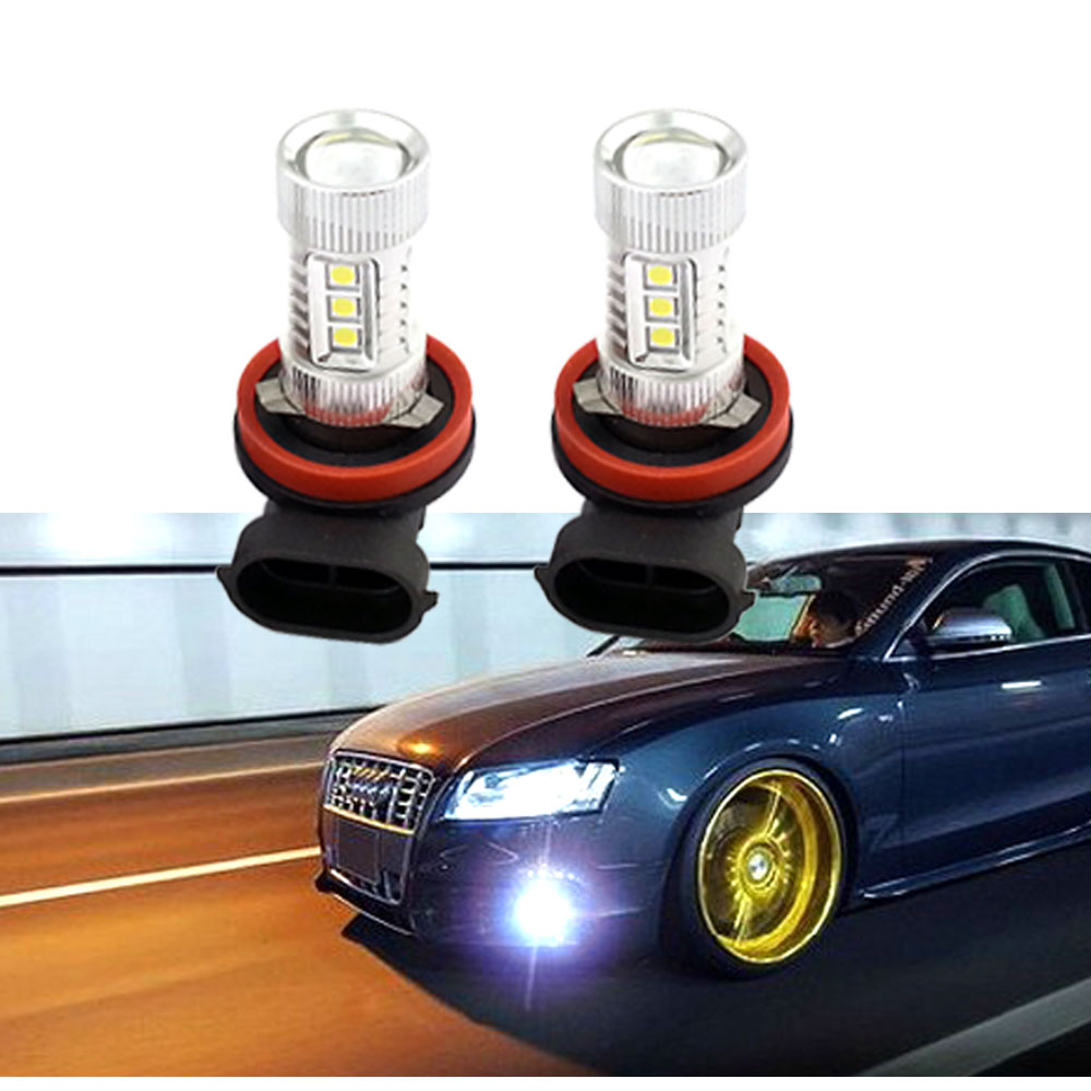 Pair 6000K White H11 LED Seoul High Power Led Bulbs For Fog or DRL Light With Project Lens(China (Mainland))