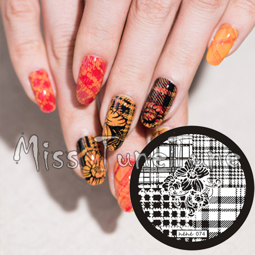 New Stamping Plate hehe74 Nail Art Four Quater Template Dahlia Flower Fashion font b Plaid b