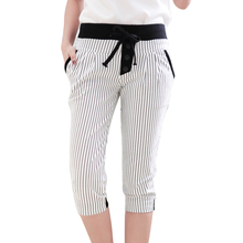 Women Capris Pants Summer Plus Size Striped/ Plaid Casual Trousers Casual Harem Pants Women Joggers Black/White pantalon femme