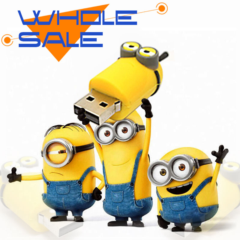 Wholesale pen drive minion USB flash drive cartoon usb stick 16g/8g/4g flash memory minions stick flash card Freeshipping(China (Mainland))