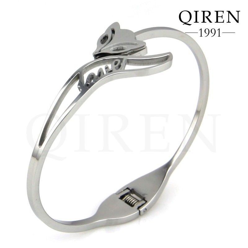 High quality new arrival animal bracelet stainless steel silver fox pattern hollow out love women bangles bracelet(China (Mainland))