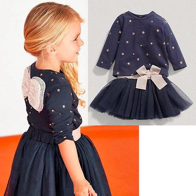 2Pcs/set Children Princess Dress Baby Girl Party Tops T-shirt+Tulle lace Skirt Kid Girls Clothing Set(China (Mainland))