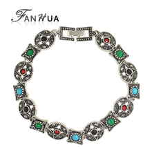 New Coming Vintage Style Antique Silver with Colorful Beads Geometric Chain Bracelet for Women(China (Mainland))