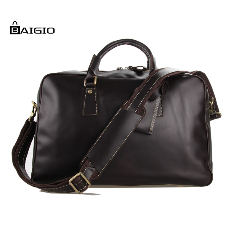 Baigio Travel Bag Mens Overnight Tote Large Capacity Font Designer Vintage Genuine Leather