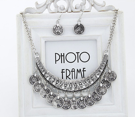 The Lowest Price New Fashion Collier Femme Silver Coins Bohemian Pendant Colar Statement Necklaces and Brincos