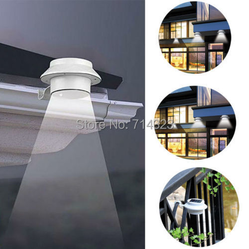 Outdoor Solar Powered 3 LED Cool White/Warm White Light Fence Gutter Garden Yard Roof Wall Lamp(China (Mainland))