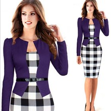2016 Women Spring Elegant Belted Tartan Patchwork Tunic Wear to Work Business Casual plaid Pencil Wiggle Sheath Dress