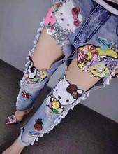 2016 new fashion street wear Kitty Hole sequins ripped jeans women denim cross pants boyfriend jeans