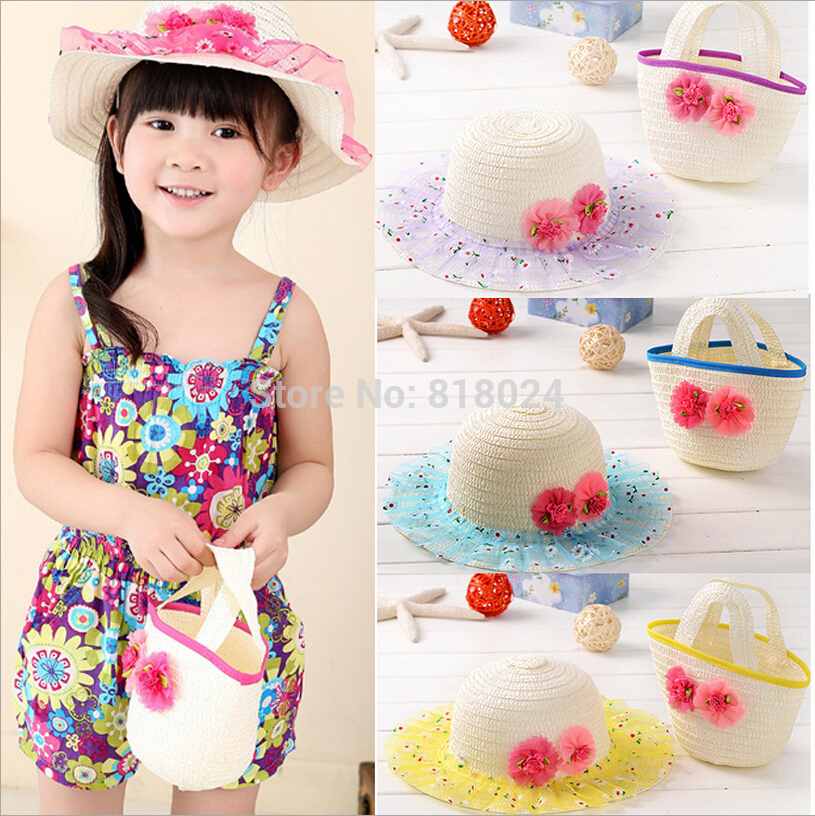 2015 New Kids Hat Bag Set Summer Sun Hat Girls Kids Beach Hats Bags Flower Straw Hat Cap Tote Handbag Bag Suit Drop shipping(China (Mainland))