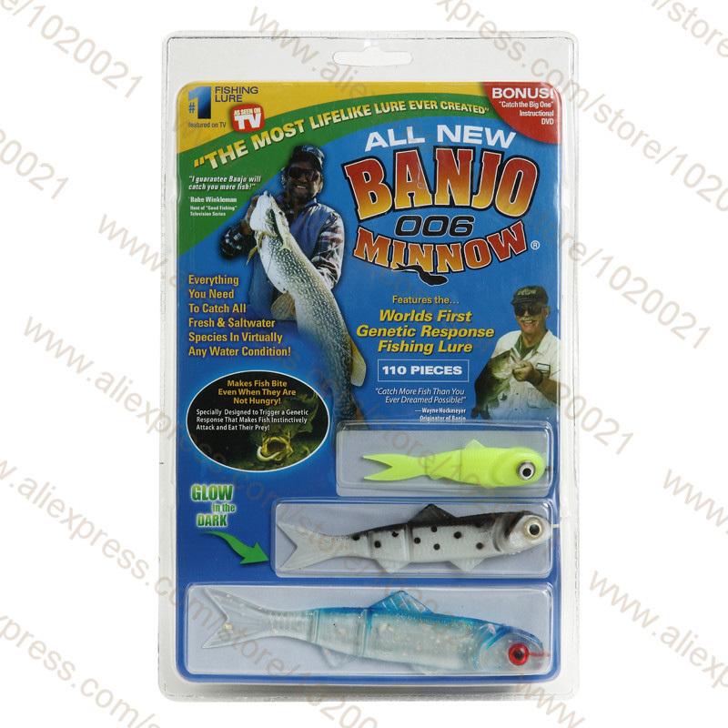 100Packs/LOT banjo 006 minnow vissen lokt minnow vissen lokken aas set sport set kit Soft plastic bait(China (Mainland))