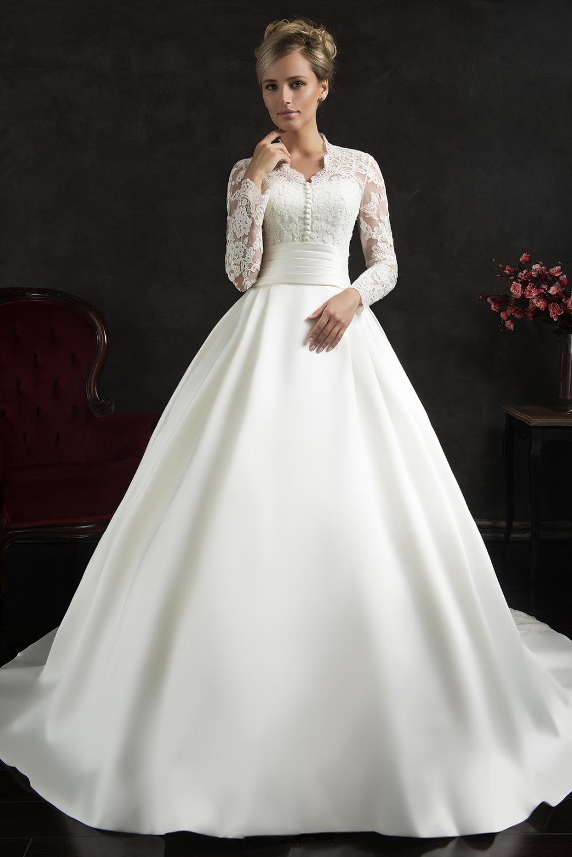 Made robe de mariee Empire Long Train Wedding Dress Bride Dream Bridal ...