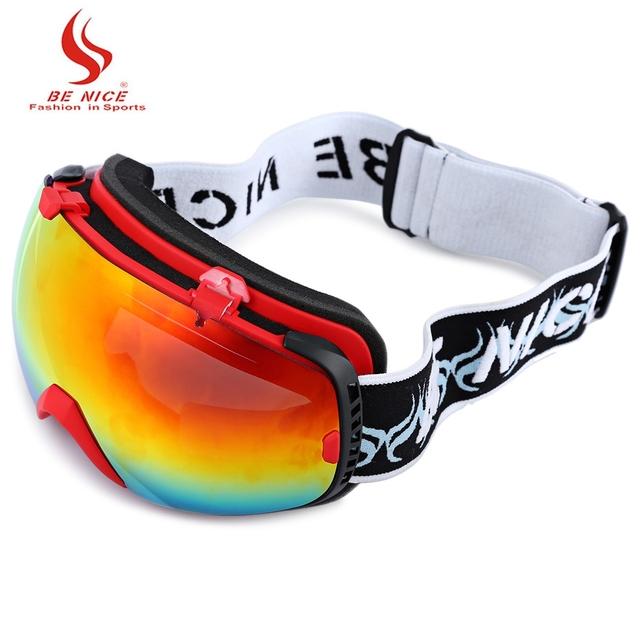 Быть Хорошим Мужская Сноуборд Очки Двойной Спорт Снег Лыжные Очки Анти Туман Фотохромные Большой Объектив Открытый Лыжные очки с Мешком