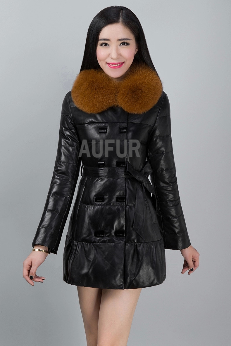 2015 Down Coat with Real Fox Fur Collar Genuine Sheep Leather Jacket New Women Outwear Overcoat Parka AU00455Одежда и ак�е��уары<br><br><br>Aliexpress
