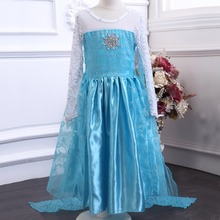 Retail designer long sleeve girl dress Child Blue ELSA dress fancy dress Christmas Girl Princess costume Dress infantis vestido