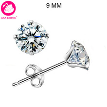 Free Shipping! Cone-Shaped Platinum Plated & 4 Prongs 9MM 3.0 CT Round Brilliant Cut Grade AAA CZ Diamond Stud Earring (0579)(China (Mainland))