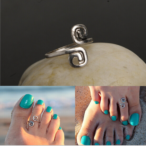 nj47 Women Madame unique vintage silver plated jewelry Hot Nice toe ring foot beach(China (Mainland))