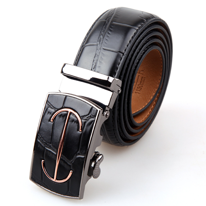 2016Man Belts Gold Label Cross Logo Embossing Crocodile pattern Braces Automatic buckle Real Cow Genuine Leather Brand Mens Belt(China (Mainland))