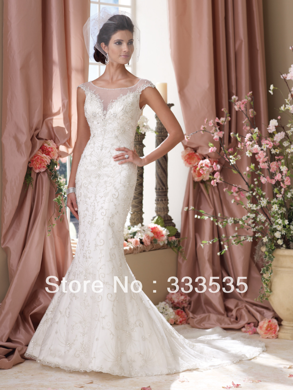 2015luxury Embroidery Fish Tail Wedding Dress Crystal